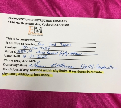 ELK Mountain Constuction gift certificate one load topsoil